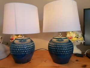 Pair Of Coach House Blue Teal Ceramic Lamps Linen Shades