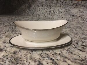 Lenox Moonspun China Gravy Boat And Plate