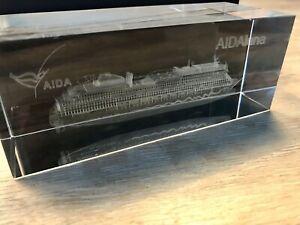 AIDAluna Schiff Modell in Glasblock 3D Lasergravur hochwertig AIDA Luna