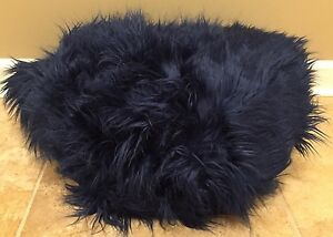 "NEW Pottery Barn Teen Faux Fur Fur-Rific LARGE 41"" Beanbag Slipcover NAVY"