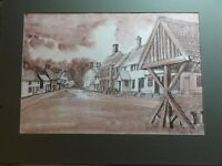 Original Watercolour/Ink painting of Hoxne Low Street Suffolk, signed