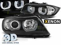 3D Angel Eyes Coppia di Fari Lenticolari per BMW E90 E91 2005-2008 Neri D1S Xeno