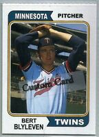 BERT BLYLEVEN MINNESOTA TWINS 1974 STYLE CUSTOM MADE BASEBALL CARD BLANK BACK