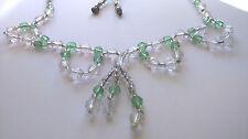 """Hermoso Estilo Art Deco-Transparente y Cristal Verde Manzana """"Swag 'Collar"""