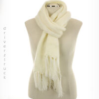 SONOMA Women's Winter IVORY SCARF with FRINGE Cold Weather OBLONG KNIT SCARF