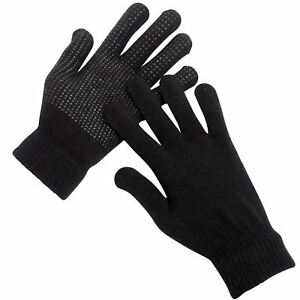 3 Pairs Magic Gloves With Gripper Winter Warm Thermal Black Mens & Ladies