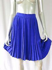 ANNE KLEIN 6 100% Silk Violet Purple Box Pleated Small Waistline A-Frame Skirt