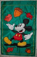 Disney Mickey Extra-Large Embossed Sculpted AUTUMN Leaves Banner Flag  - EUC