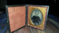 Antique Daguerreotype Tintype Photograph Of Young boy framed case