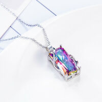 925 Silver Rainbow Mystic Topaz Stone Pendant Necklace Party Prom Choker Jewelry