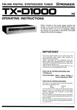 Pioneer TX-D1000 Receiver Owners Manual