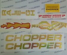 RALEIGH CHOPPER MK2 DECAL SET, PRISMATIC GOLD & FLAMING EXHAUST