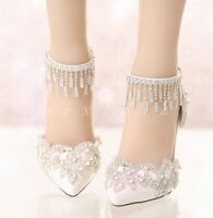 Women's Wedding Lace High Heels Pointy Toe Stiletto Ankle Strap Club Bride Shoe