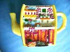 Pottery Decorative Planter with Kitchen theme on front Yellow with multi colors