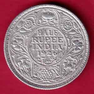 BRITISH INDIA 1926 BOMBAY MINT GEORGE V HALF RUPEE RARE SILVER COIN #IG11