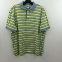 Lacoste Mens Polo Shirt 6 Large Green Blue Striped Alligator Short Sleeve A6-06