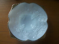 70's Vintage Retro Milk Glass & Gilt Edged Grapevine Motif Compote