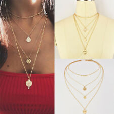 Fashion Women Multilayer Gold Plated Chain Choker Necklace Cross Pendant Jewelry