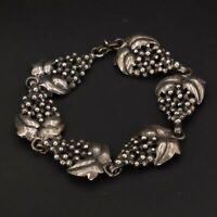 """VTG Sterling Silver Freeform Bunch of Grapes Link 7.5"""" Statement Bracelet - 28g"""