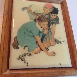 "Norman Rockwell Print on Ceramic Tile The Marble Game Framed Vintage 6""x7.5"""