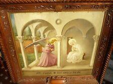 """Quadro """"Annunciazione del Beato Angelico""""  antico olio su tavola Splendido"""