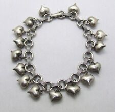 """7"""" Silver Plated Puffy Heart Dangles Chain Bracelet~Fold Over Clasp~3/4"""" Wide"""