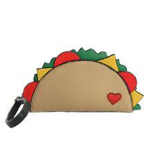 Yummy Taco Love Red Glitter Heart Vegan Wallet Bag Wristlet Purse