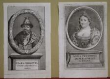 RUSSIA THE TZAR & ANNA IOANNOVNA 1738 SALMON ANTIQUE COPPER ENGRAVED PORTRAITS