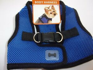 Blue Blk  Mesh Bow Simply Dog Body Harness Vest S M New Pet no choke step-In