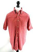 NAUTICA Mens Shirt Short Sleeve UK XL US M Red Blue Check Cotton