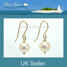 9ct Gold White Freshwater Pearl Drop Earrings - Pearl Island