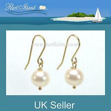 9ct Gold White Freshwater Pearl Drop Earrings - Pearl Island