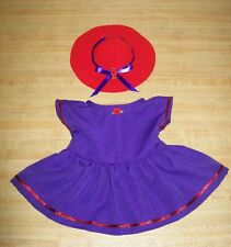 """16-17"""" CPK Cabbage Patch Kids RED HAT LADY PURPLE DRESS W/ RED TRIM+ RED HAT"""