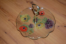 Pretty Floral Serving Dish/Platter with Gold Handle
