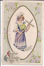 Nash Girl Holding Wooden Cross Easter Greeting Postcard