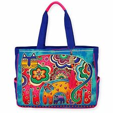 Laurel Burch Blue Teal Bohemian Whiskers Cats Oversize Carry Tote HandBag New