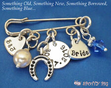 PERSONALISED Brides Wedding Charm Pin or Brooch, Something old new borrowed blue