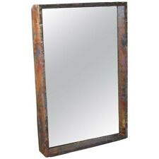 Mirror in Industrial Wood Frame Box from 1950s Auto Paint Factory