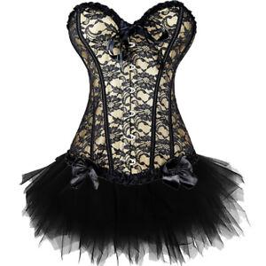 Women Sexy Basque Burlesque Moulin Rouge Fancy Dress Lace Up Costume Corset Tutu