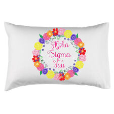 Alpha Sigma Tau Sorority Floral Wreath Pillowcase 300 Thread 100% Cotton