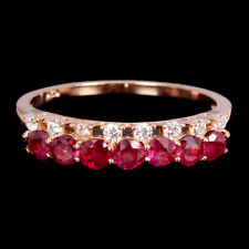 Rose Gold Plate 925 Sterling Silver Ring Round Red Ruby 3mm Cubic Zirconia 14K