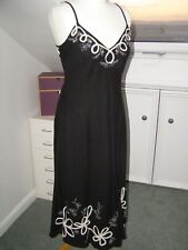 Zara black linen blend summer strappy dress size L long white embroidered flower