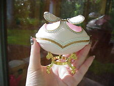 REAL Carved Goose Egg Trinket/Keepsake Gift Box Pink Butterfly Wings