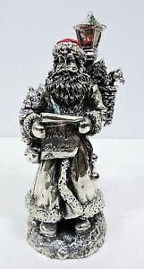 Scultura Statua Babbo Natale h cm 25 in Laminato Argento Smaltato