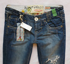 River Island Jeans 8 R relaxed bootleg boyfit buckle multi rip ripped 28/32 NEW