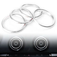 4pcs Interior Silver Air Vent Outlet Ring Cover Trim For Audi A3 8V 2012-2015
