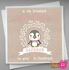 Personalised Christmas Card Baby's 1st First Christmas Daughter, Granddaughter,