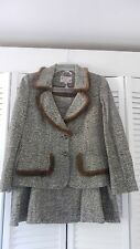 ECAILLE by Mary Paris women's brown fishbone wool blend suit (skirt), Size: 12