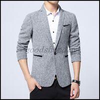 2017 Mens Spring Blazer Suit Coat Slim Fit Dress Casual One Button JACKET M-5XL