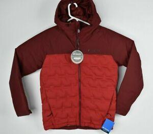 New Columbia Men's Grand Trek Down Jacket Hooded Omni Heat Red Size S $199